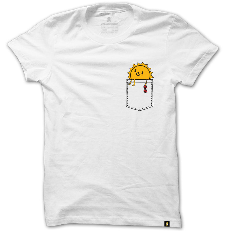 Sun Pocket printed T-Shirt - White