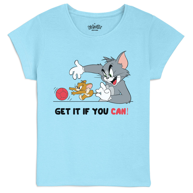 Tom & Jerry Blue T-Shirts for Girls - 4269