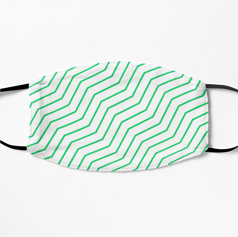 Printed Face Mask - Green Geometric Pattern 2 Ply Cloth Mask