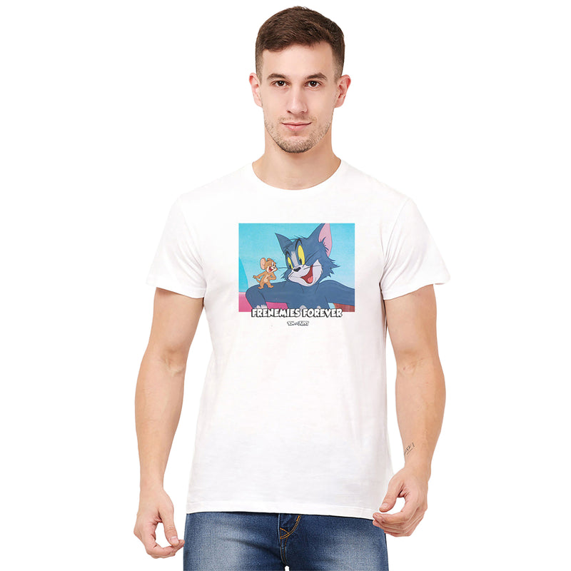 Tom & Jerry White T-Shirt for Men - 4243