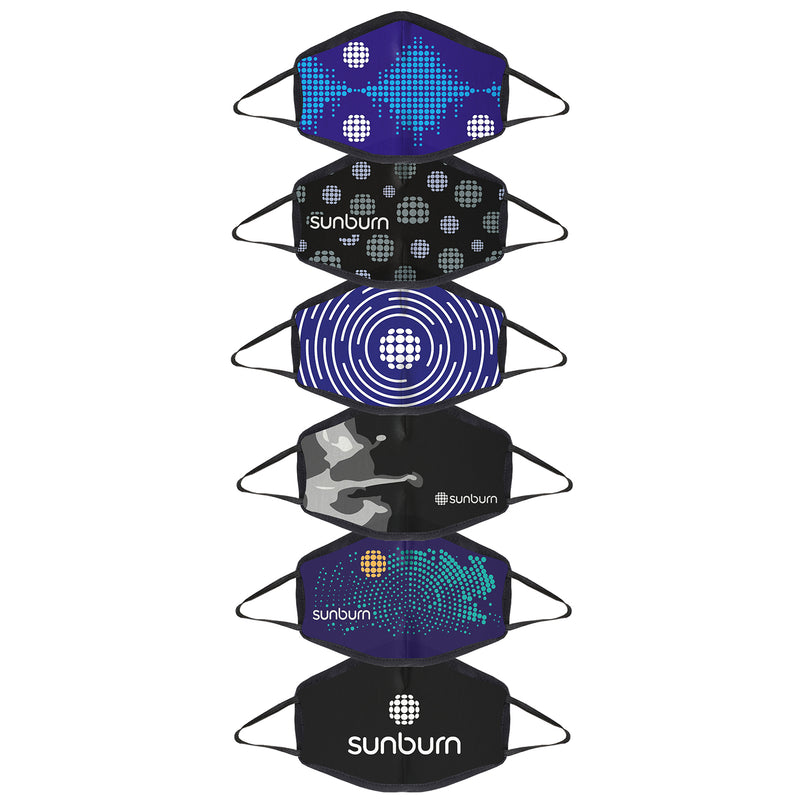 Sunburn printed 3 layer protective face mask - pack of 6