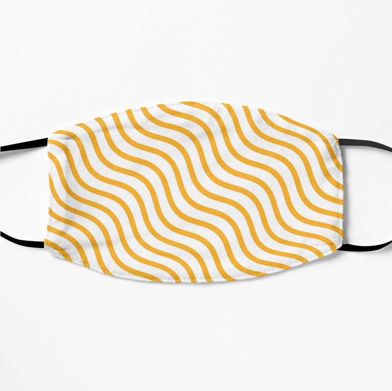 Printed Face Mask - Yellow Geometric Pattern 2 Ply Cloth Mask