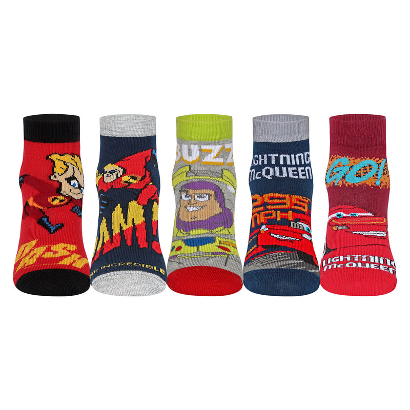 Disney Incredible- Toys Stories -Cars Character Ankle Length Grey Socks Pack of 5