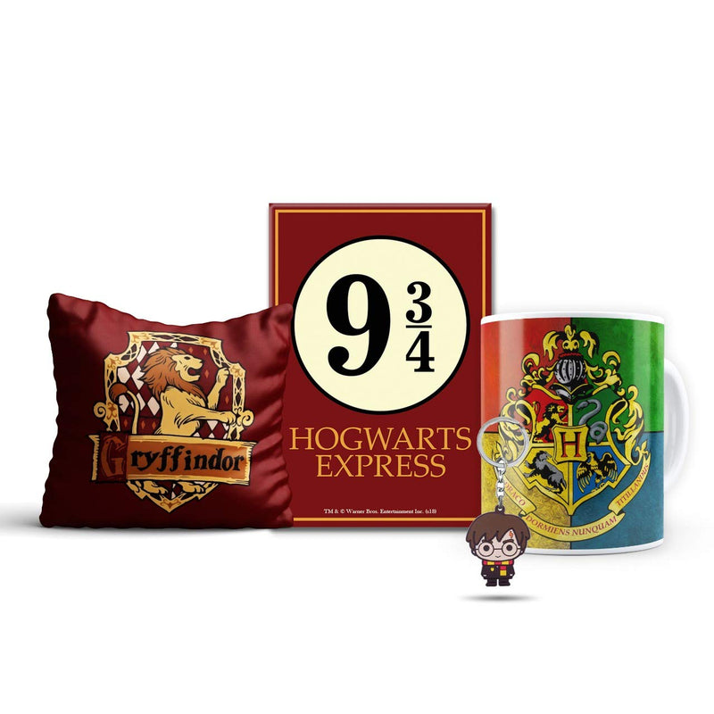 Harry Potter Combo pack of 4 - Gryffindor cushion Cover, magnet, House crest mug & chibbi key chain