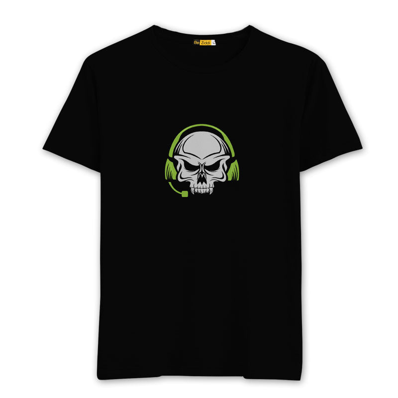 Gaming Skull Round neck T-Shirts - BLack