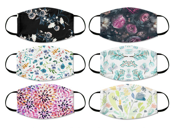 Floral 2 Ply Cloth Mask Washable Reusable Pack Of 6 - For Adults