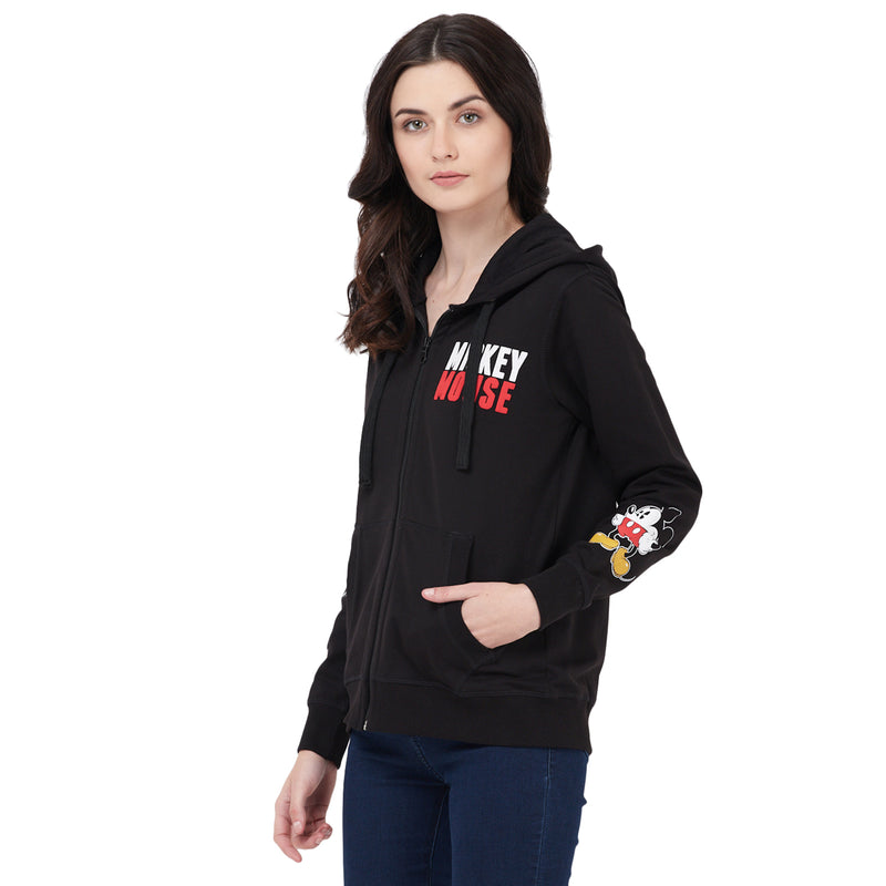 Mickey Mouse printed Black Zipper Hoodie For Women