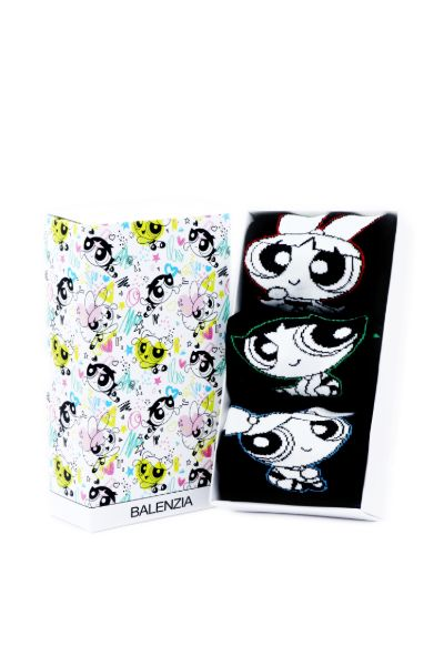 Powerpuff Girls Women Cushioned Crew Socks with Gift Box by Balenzia - Pack of 3