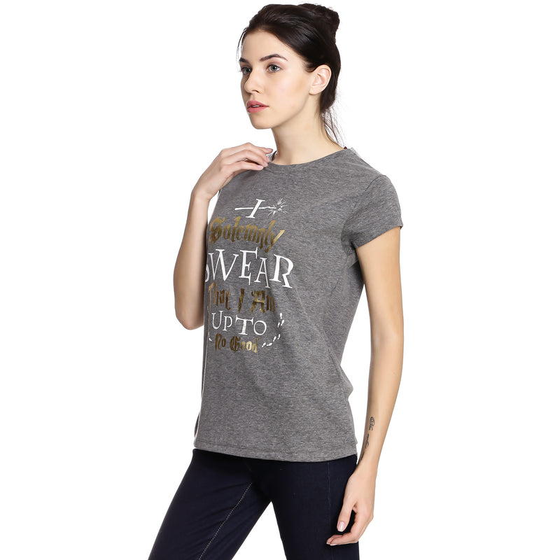 Harry Potter printed Grey Women Crew Neck T-Shirt - HP1EWT615 Bioworld