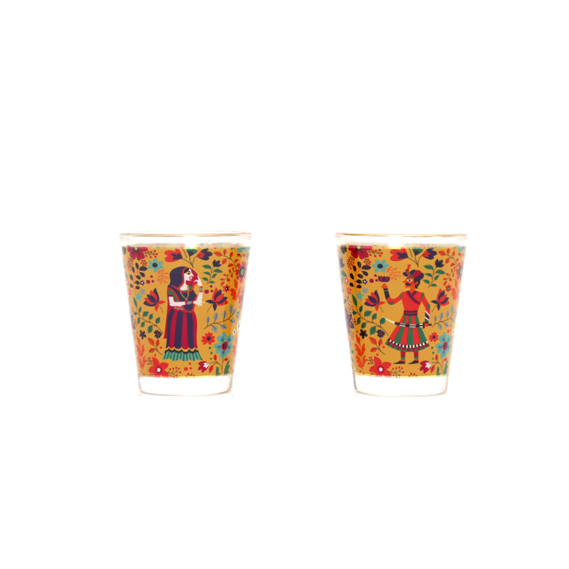 Queen and King Theme Printed Shot Glass Set of 2
