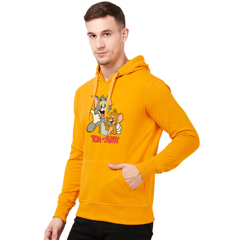 Tom & Jerry Yellow Hoodie for Men - 4254