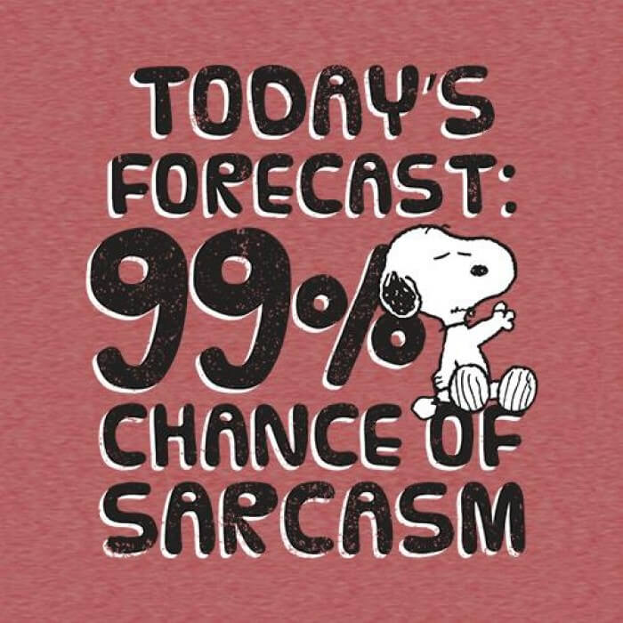 99% Chance of Sarcasm - Peanuts Official T-shirt