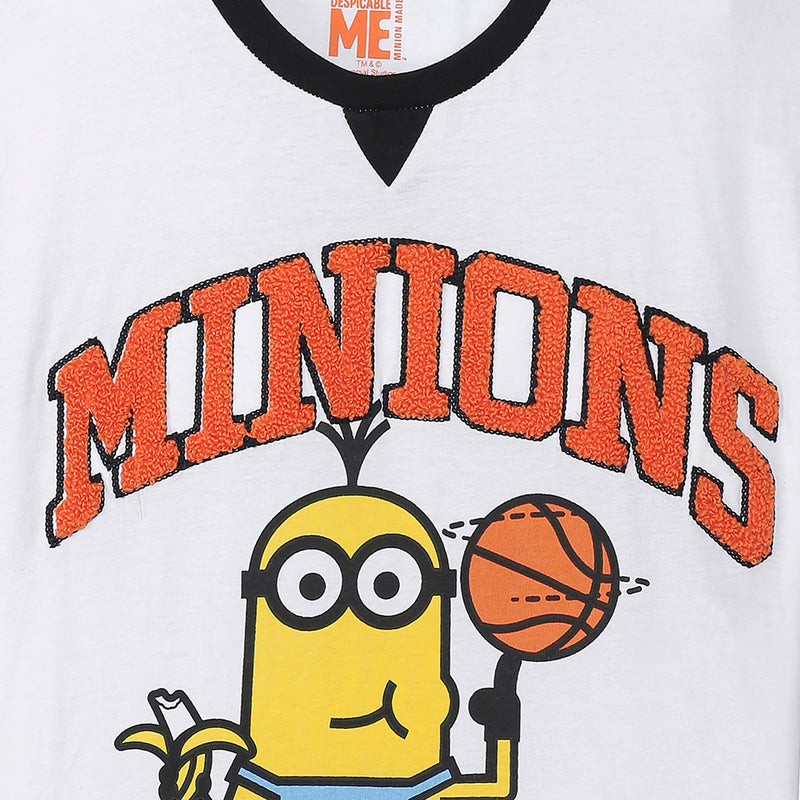Minions White Tshirt For Boys - STY-19-20-000528
