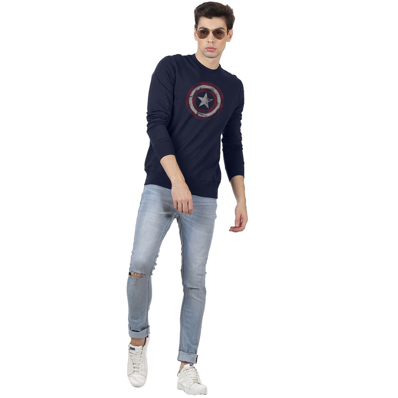 Captain America Printed Navy Sweatshirt - 2033