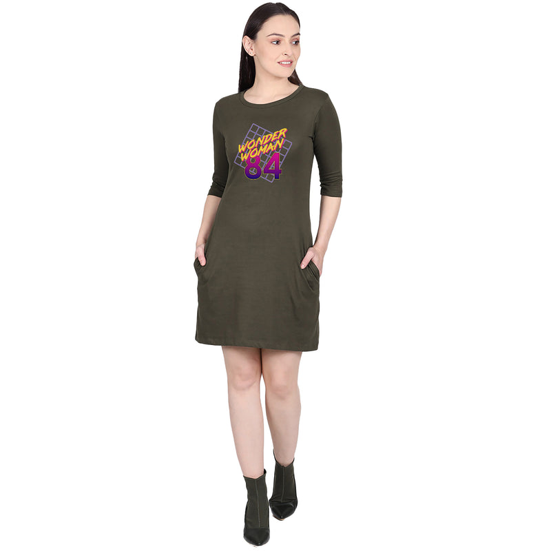 Wonder Woman Printed A-Line Olive Dress - 3704