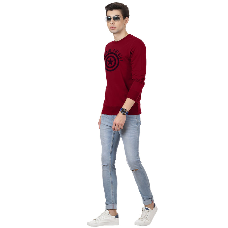 Captain America Printed Red Sweatshirt - 2038