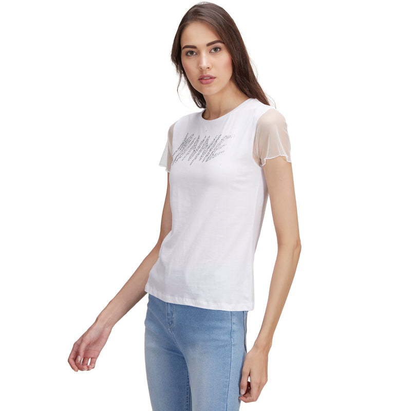 Minnie printed White T-Shirt for Women - T20