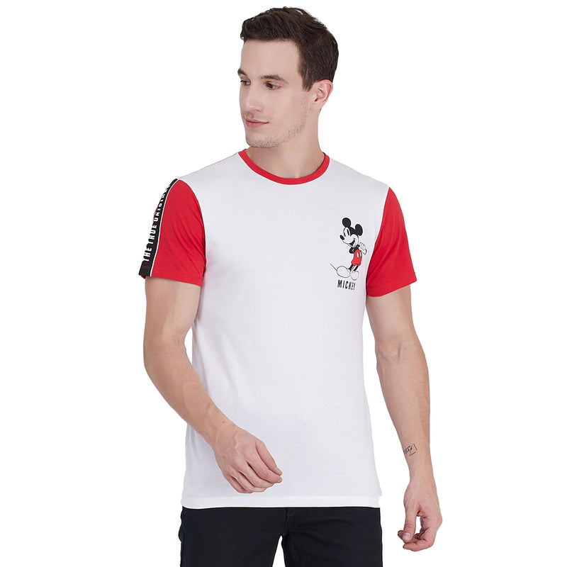 Mickey Mouse printed White & Red T-Shirt for Men