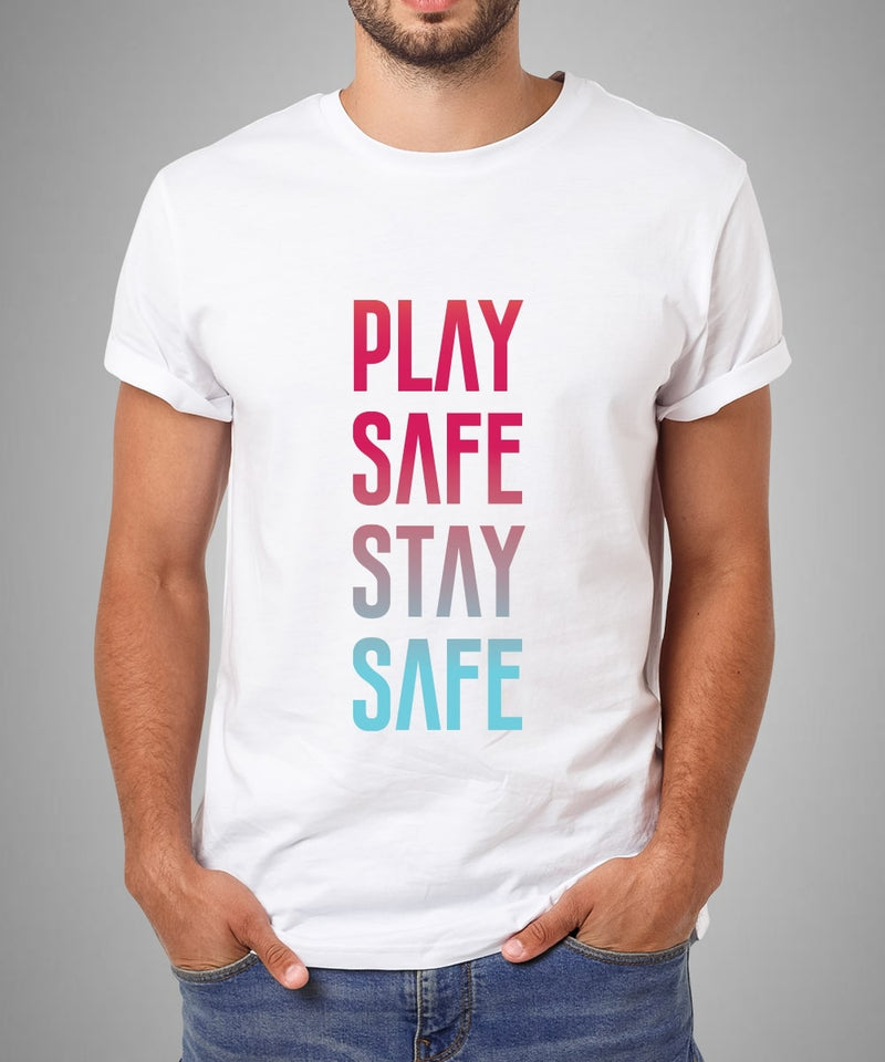 Play Safe Stay Safe Multicolour Print Unisex T-Shirt - White