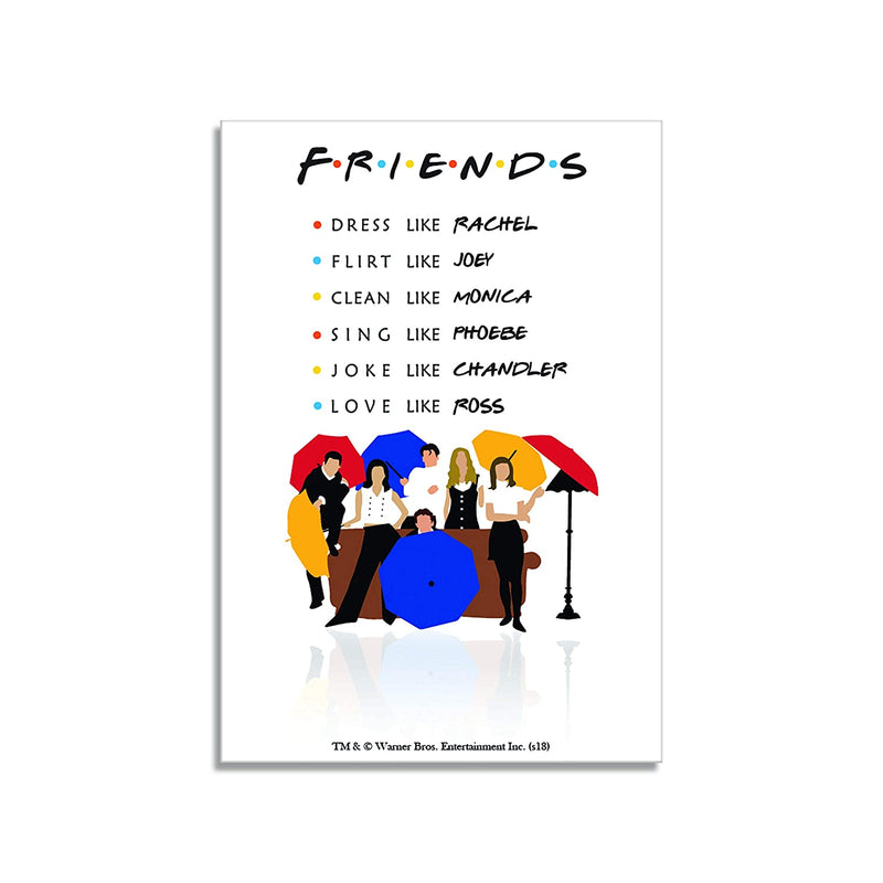 Friends Combo Pack of 4 - Quote Cushion Cover + Quotes Mug + Umbrella magnet + Central perk key chain