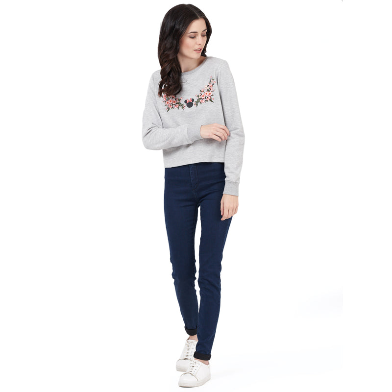 Mickey Mouse printed Grey Sweatshirt for Women