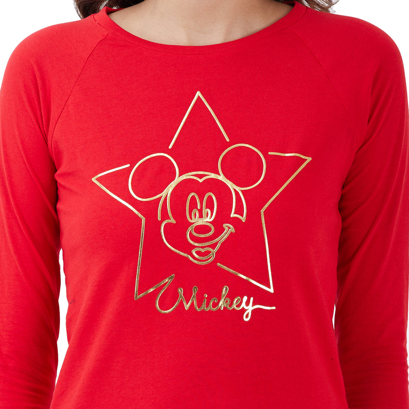 Mickey Mouse printed Red T-Shirt for Women