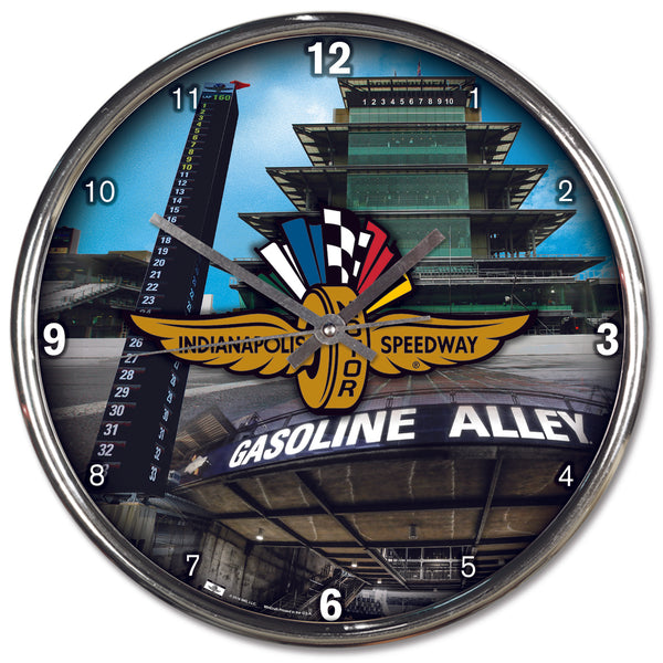 Wing Wheel and Flag Collage Chrome Clock