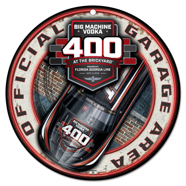 2019 Big Machine Vodka Brickyard 400 Round Plastic Sign