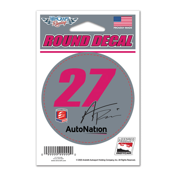 "Alexander Rossi AUTONATION ""27 Round Decal"