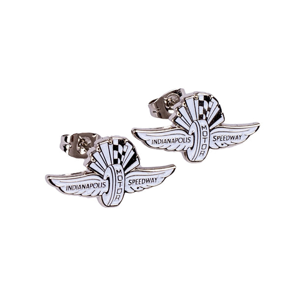 Wing Wheel and Flag Sterling Silver Earrings
