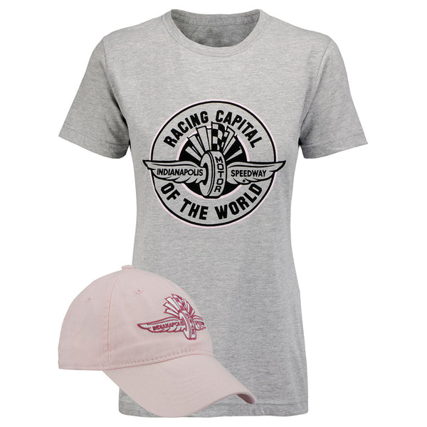 Ladies Wing Wheel and Flag Racing Capital Of The World Hat/T-Shirt Combo