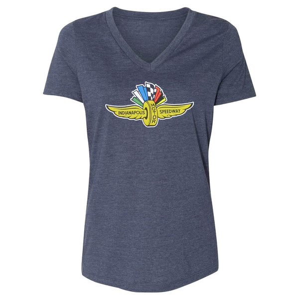 Ladies Wing Wheel and Flag Distressed Navy Triblend T-Shirt