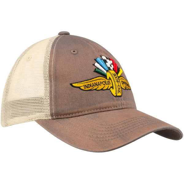 Wing Wheel and Flag Washed Mesh Cap