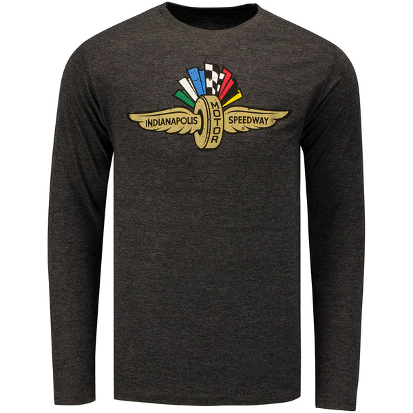 Wing Wheel and Flag Triblend Charcoal Long Sleeve T-Shirt