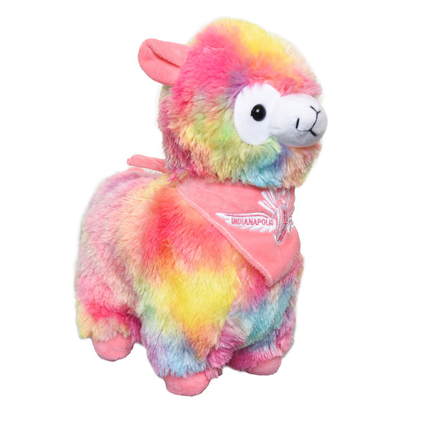 Wing Wheel and Flags Plush Rainbow Llama