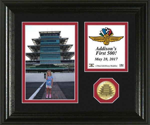 Race Day Memory Personalized Bronze Coin Desktop Photo Mint