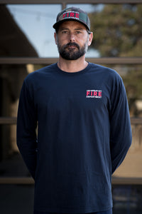 Custom Soft Cotton Long Sleeve Department Tee - Navy