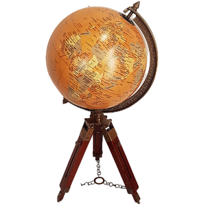 Antique World Globe On Tripod Stand