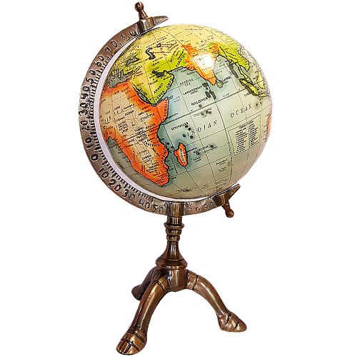 Antique World Globe On Metal Stand