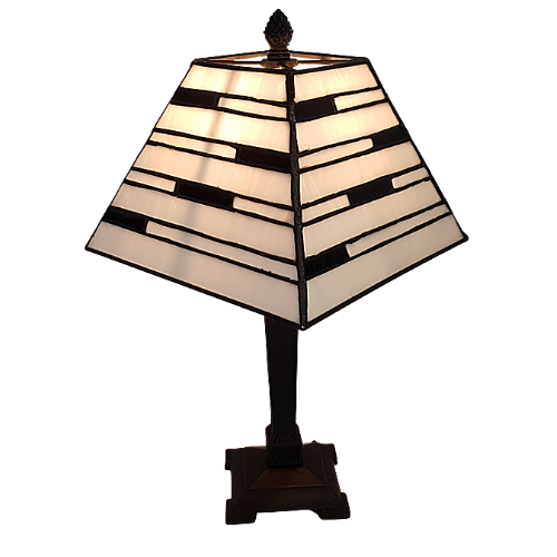 Art Deco White and Black Table Lamp