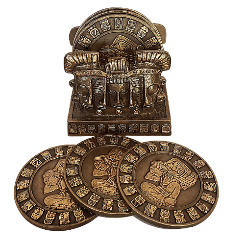 Mayan Cold Cast Bronze Coaster Set