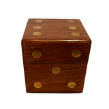 Giant Wooden And Brass Dice Set
