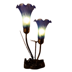 Blue/Purple Lily's with Dragon fly Lamp