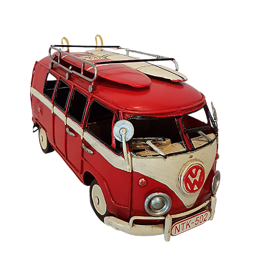 VW Red Kombi Van With Surf Boards