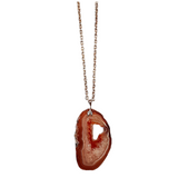 Red Agate Rough Cut Gemstone and .925 Sterling Sliver Necklace