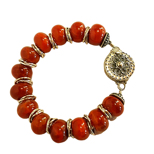 Fire Stone Agate and Sterling Silver Bracelet