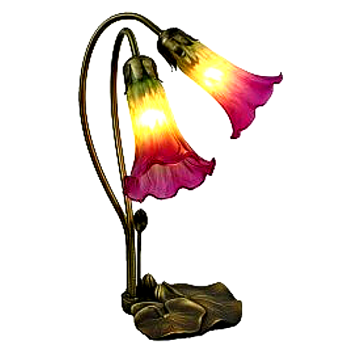 Tiffany Style Rose Pink and Green Lily Lamp