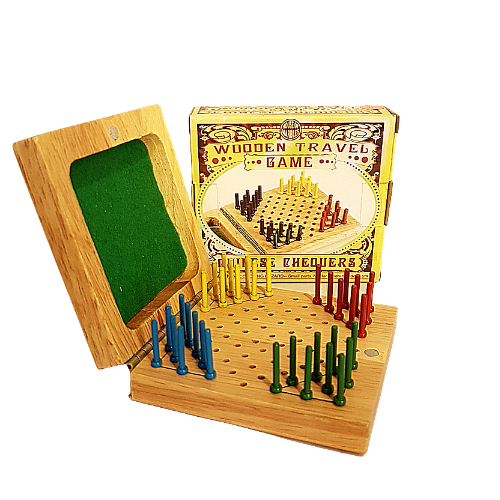 Wooden Chinese Checkers Travel Game