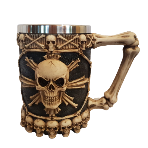 Skull and crossbones beer stein