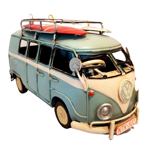 VW Blue Kombi Van with Surf boards